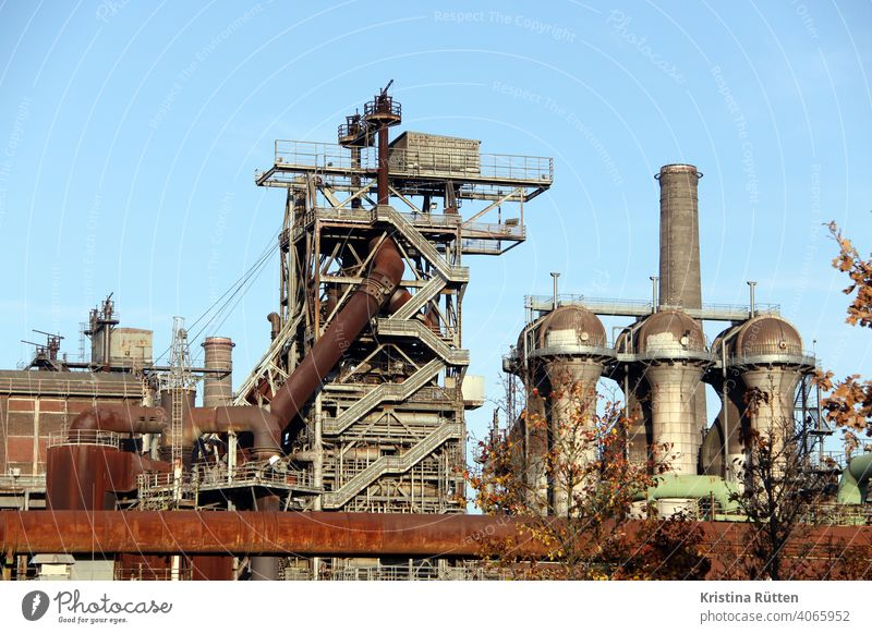 disused steelworks in the landscape park duisburg-north Steel factory smelting works Blast furnace decommissioned Erstwhile Industrial plant Industrial monument