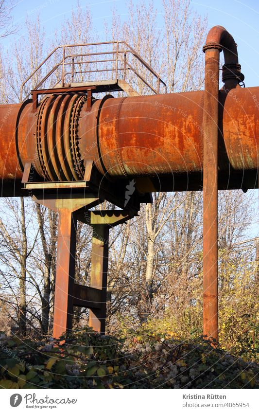 rusty pipes conduit Conduit Steel Metal Rust steel construction Steel factory smelting works Blast furnace decommissioned Erstwhile Industrial plant
