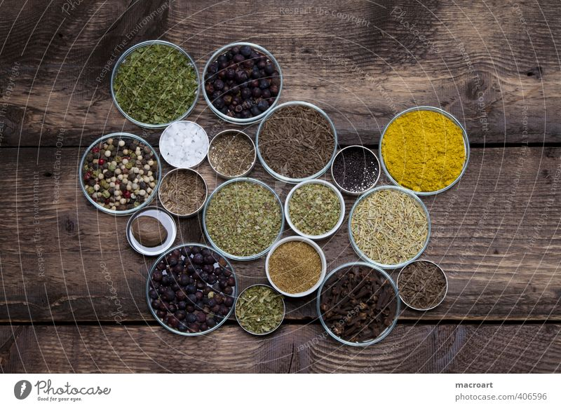 variety of spices Herbs and spices Spicy Dish Eating Food photograph Ingredients Cumin Curry powder Exotic Italian Food Parsley Oregano Basil Pepper Salt