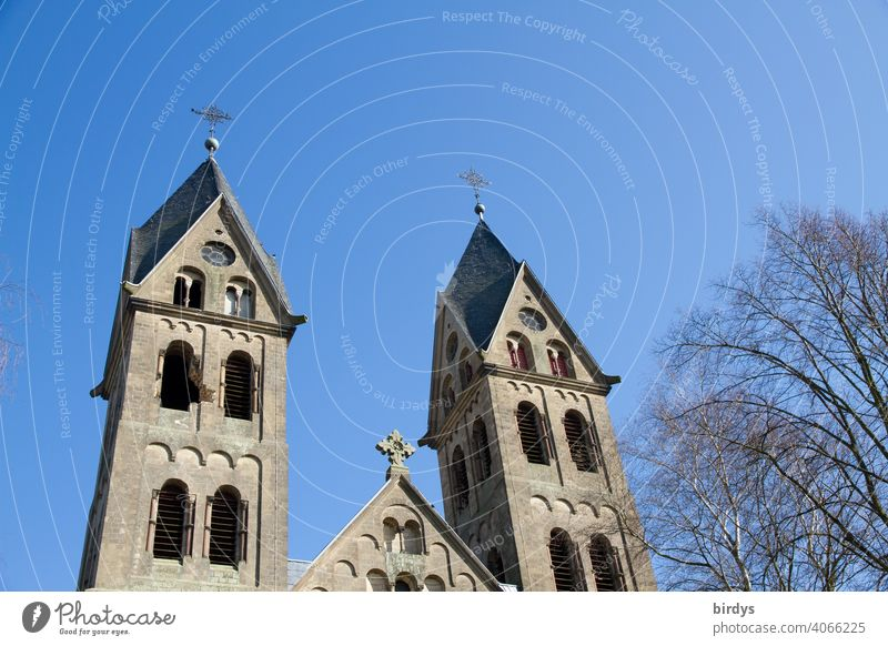 The Immerather Cathedral St. Lambertus. The church was demolished on 08.01.2018 by the energy provider RWE as well as the whole village to extract the underlying brown coal.The holes in the towers testify to the salvage of the bells.