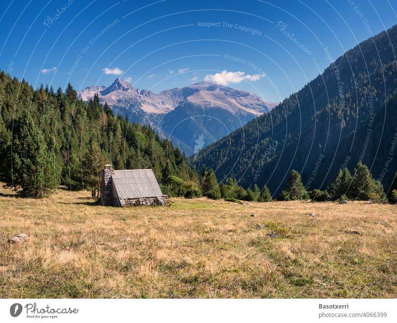 Alpine hut in the Pyrenees near Bielsa, Huesca, Aragón Alpine pasture alpine hut Shepherd Meadow Mountain meadow mountains huesca Aragon Spain Hiking hike