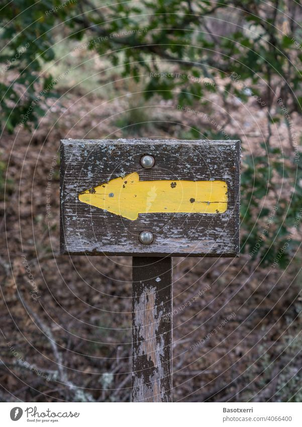 Yellow arrow pointing to the left as trail marker on a hiking trail in the forest Arrow yellow arrow Forest Hiking off path Orientation Information Left sign