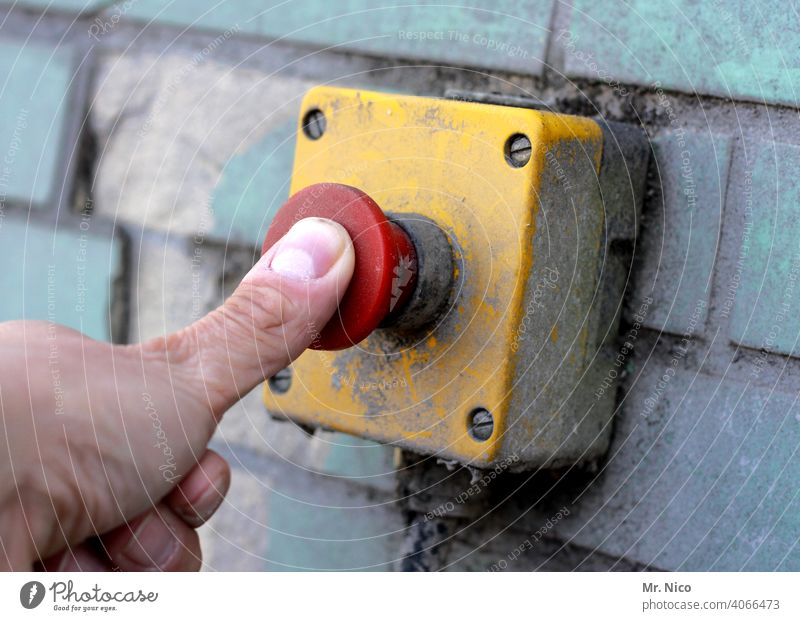 Emergency stop switch Pushing Hand Fingers Activate Switch Technology Switch off button buzzer Master switch Safety actuating element Alarm push the button