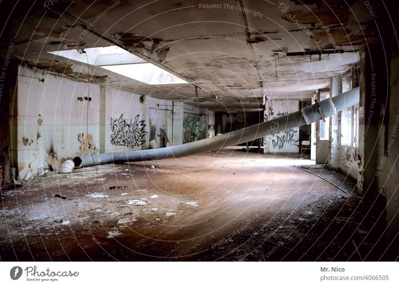 lost places Building Decline Transience Old Change Broken Past Ravages of time Derelict Ruin Destruction Shaft of light Dirty conduit Industry Gloomy