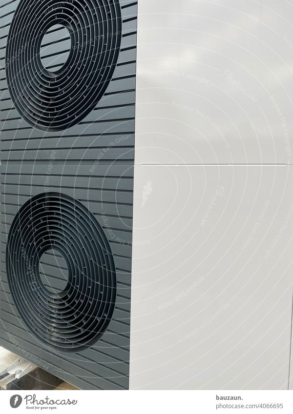heating details. Heating Construction site Colour photo Deserted Industry Technology Water Energy industry Provision Air source heat pump Installer