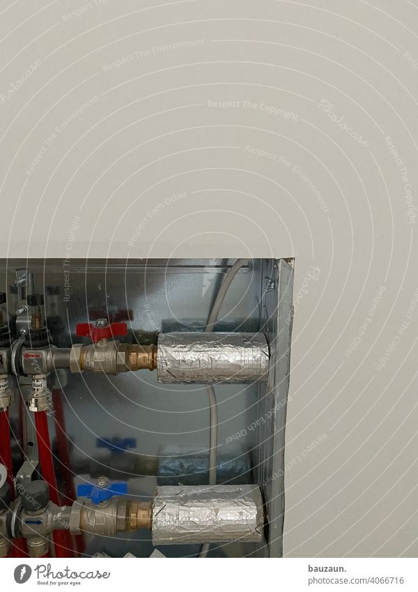 heating details. Heating Heating pipes water pipe Transmission lines Conduit Water pipe Construction site Colour photo Effluent Deserted Industry Technology