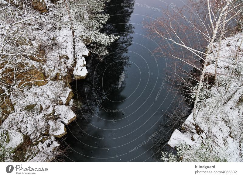 View from a bridge Winter Bird's-eye view River Water Snow Rock cliffs stones Cold Ice Nature Landscape Colour photo Deserted Frost Frozen Lake Day Freeze White