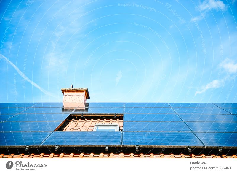 Solar modules on a roof photovoltaics Solar Energy Sky Solar cells Energy industry Sunlight Save promotion Forward-looking Roof photovoltaic system