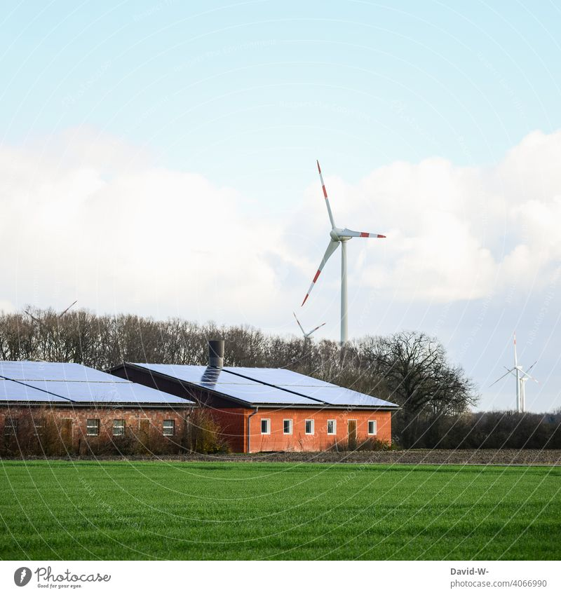 Renewable energies - photovoltaic system and wind turbines Renewable energy Energy sources Solar Energy wind power windmills Solar cells sustainability