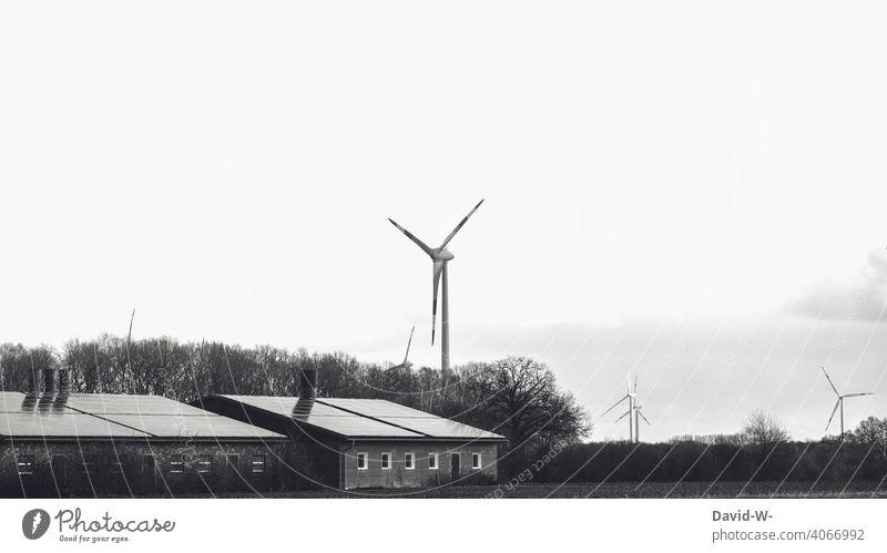 renewable energies - wind energy & solar energy environmental awareness Solar Power environmentally friendly Wind energy plant nature conservation Climate