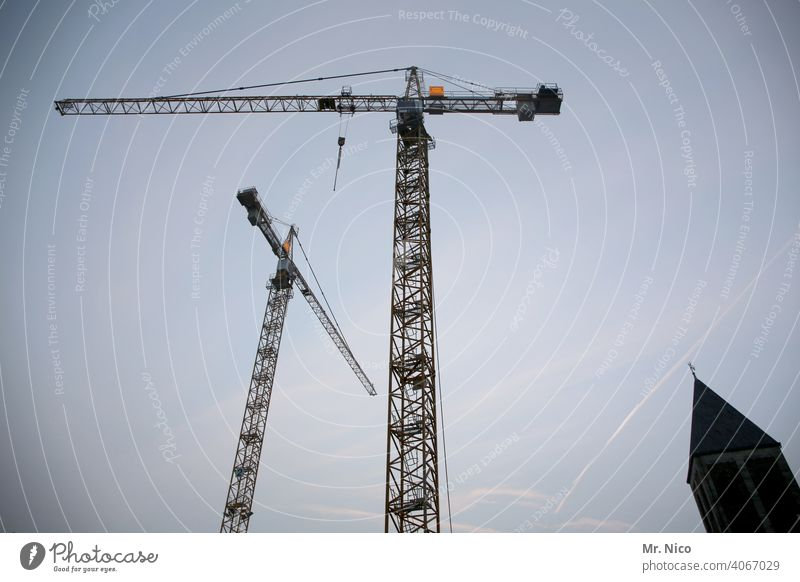 God's building site Construction crane Construction site Illness Crane revolving tower crane slewing crane Sky Work and employment Lift Church