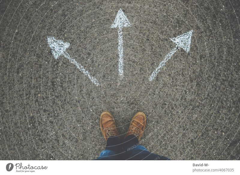 Where to ? Arrows point in different directions Whereto Decide Disorientated Man Indecisive Trend-setting Chalk Insecure Target Aimless Future Direction