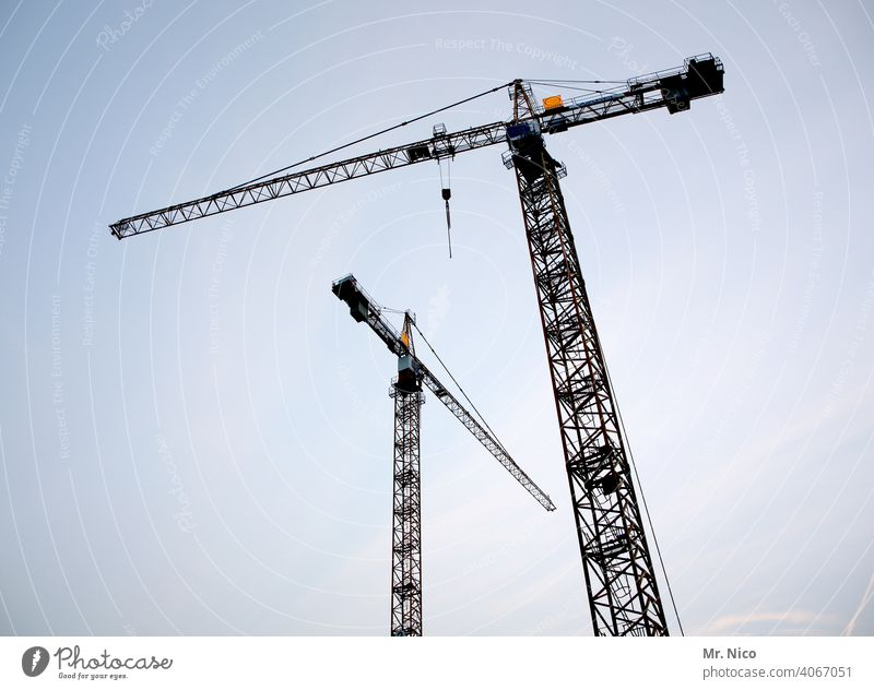 Waiting for the mission - in the morning at 7h Construction site Construction crane Crane revolving tower crane slewing crane Sky Lift Work and employment Build
