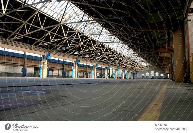 factory hall Industrial heritage production hall Industrial plant Production plant Workshop Manmade structures Building Shaft of light Old Architecture Hall