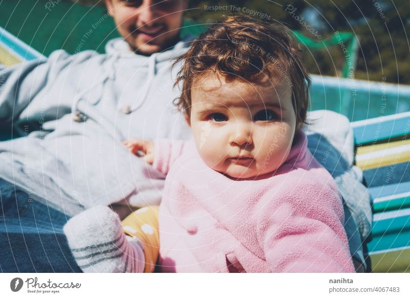 Little baby enjoying a sunny day in holidays with dad family happiness father parent parenthood babyhood happy discover explore relax leisure family time