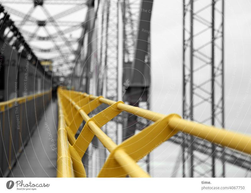F60 Gangway colliery open pit mining Metal Scaffolding Iron reeds lines align Yellow Gray Corridor off Tall Depth of field Aspire Architecture Safety Protection
