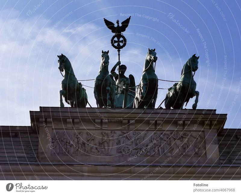 The Quadriga on the Brandenburg Gate in Berlin Mitte Architecture Capital city Germany Landmark Tourist Attraction Exterior shot Deserted Monument