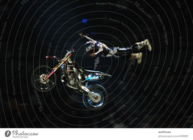Motorcycle Freestyle Superman Acrobatics Ski jump Extreme sports Motocross bike