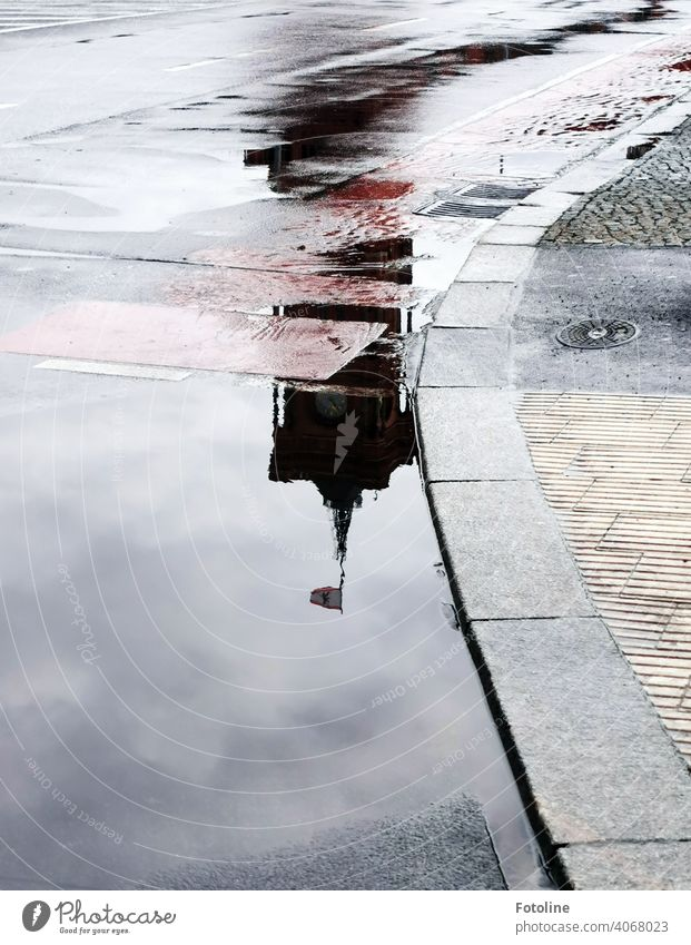 Berlin's Puddles II - Red City Hall Water Reflection Wet Exterior shot Deserted Colour photo Street Weather Bad weather Rain Day Traffic infrastructure