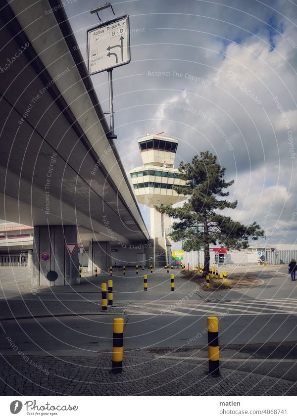 Farewell to Tegel Airport Berlin tower Overpass Sky Tree Bollard vaccination centre Goodbye Concrete sign void Aviation