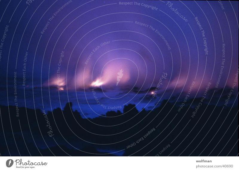 Lava runs into the sea Sunset Hawaii Ocean Night Volcano Blaze Mauna Kea Steam dawn wolfman wk@weshotu.com