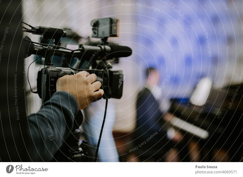 Close up video camera shooting event Video Video camera Shoot Event Concert Transmission Broadcasting Live Colour photo Camera Technology Day Testing & Control