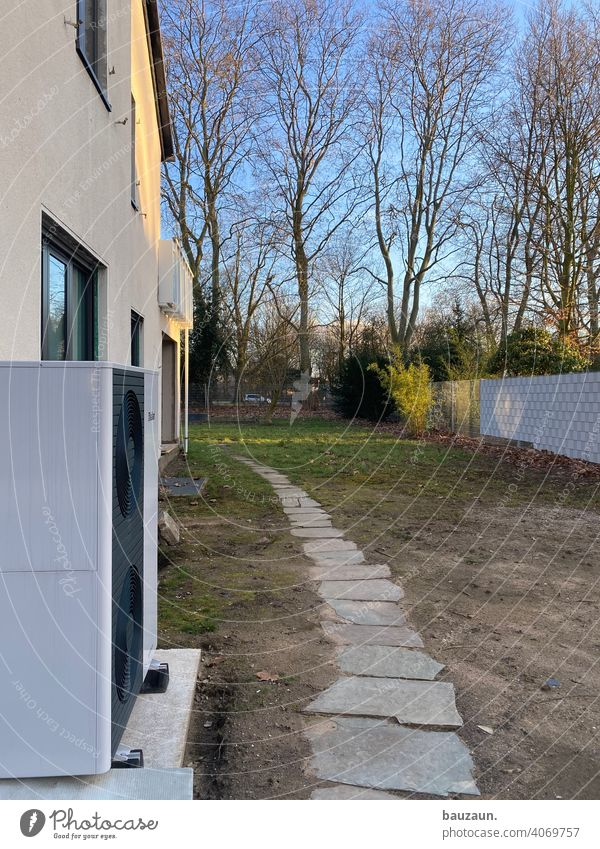 air source heat pump. Heating Construction site Colour photo Deserted Industry Technology Water Energy industry Provision Air source heat pump Installer
