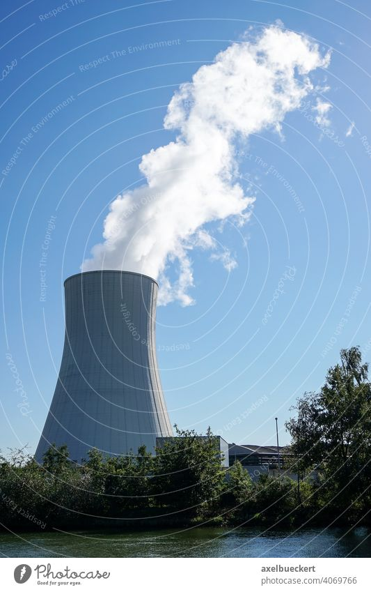 cooling tower steam power plant power station powerhouse energy generating plant generating station chimney smokestack block unit factory industry industrial