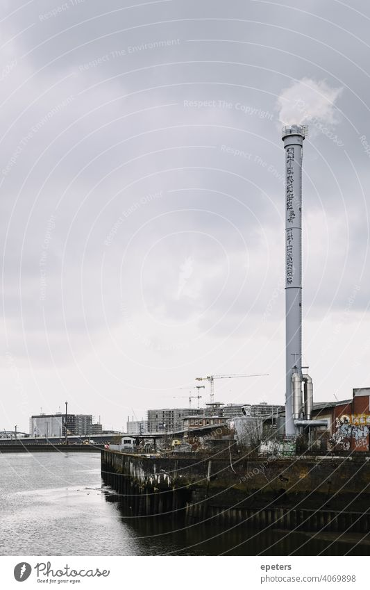 View of an industrial chimney from the Oberhafen Bridge in Hamburg, Germany cloudy copy Copy Space Elbe Gray Harbour Industrial Minimal Moody Old Port rainy