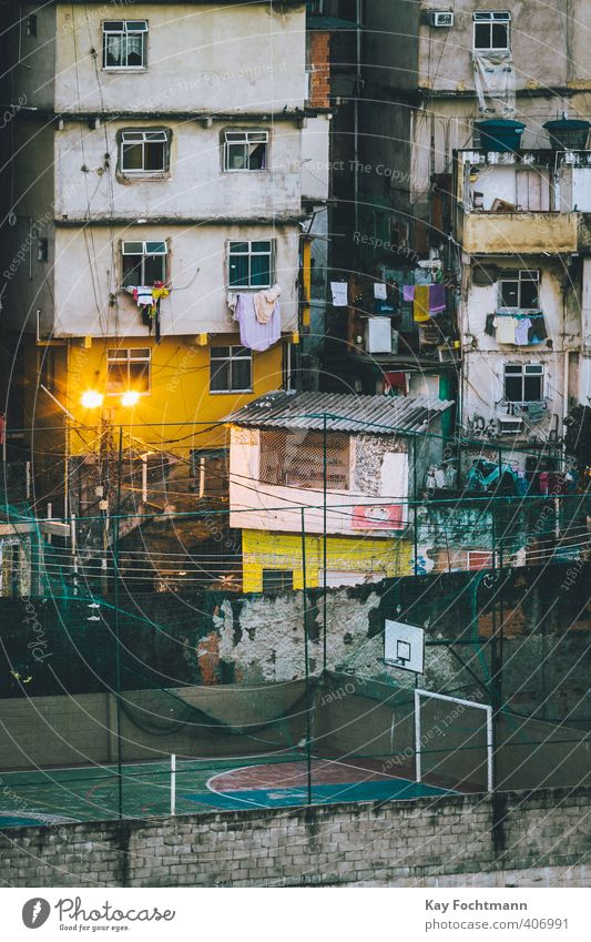 Basketball court in a favela in Rio de Janeiro Leisure and hobbies Playing Soccer Football pitch Basketball arena Slum area Brazil Populated Overpopulated