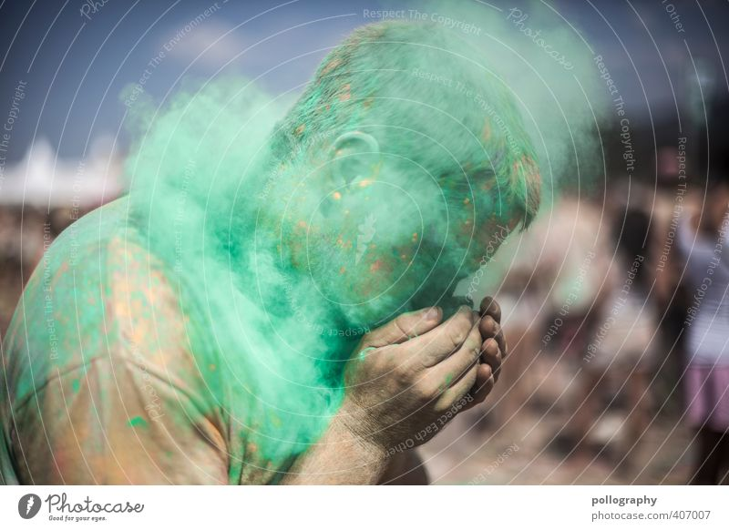 Human being Sky Man Youth (Young adults) Summer Colour Hand Adults Face Young man 18 - 30 years Warmth Life Dye Head Moody