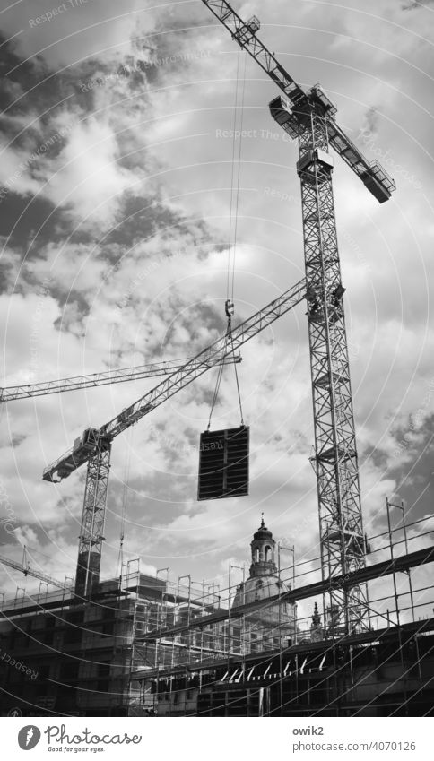 site supervision Construction crane Scaffolding Work and employment Responsibility Tall Dependability Exterior shot Deserted Diligent Copy Space left Contrast