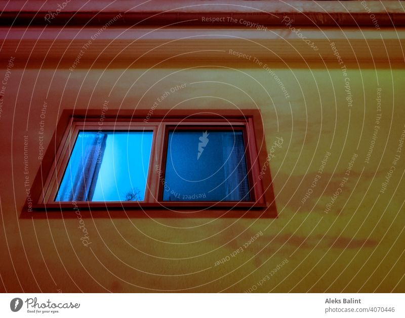 Illuminated window in the evening lantern light Window Evening House (Residential Structure) Exterior shot
