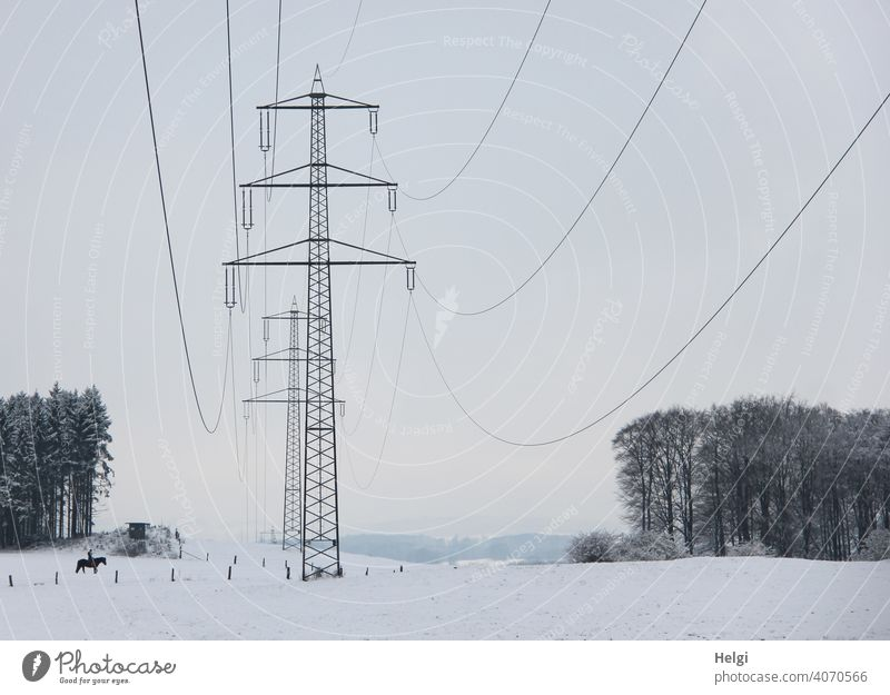 Electricity pylons in winter landscape Power poles Energy Energy industry High voltage power line Cable Transmission lines Industry Environment Winter Snow