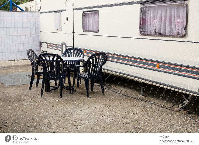 camping Camping Bus Mobile home voyage Family chairs Table Stripe foreign countries vacation Parking space curtains Wanderlust from place to place Independence