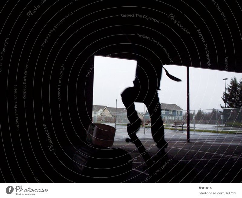 Jump! Silhouette Tie Black Trash container Skateboarding Keg Man Shadow Detail Flying Tall