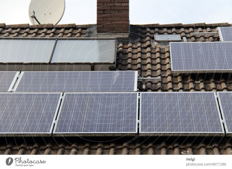 Photovoltaic system on the roof of a house II photovoltaics photovoltaic system stream power supply Energy generation Solar Power Renewable energy