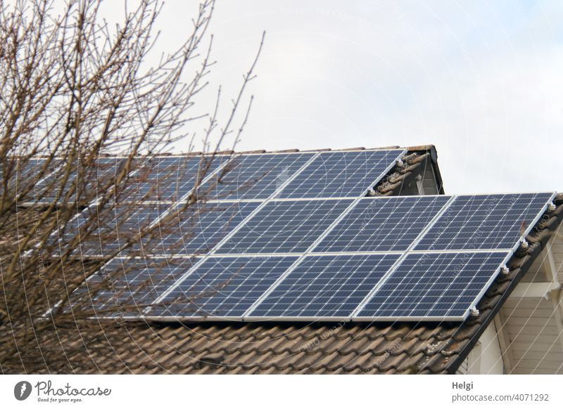 Photovoltaic system on the roof of a house photovoltaics photovoltaic system stream power supply Energy generation Solar Power Renewable energy Energy industry