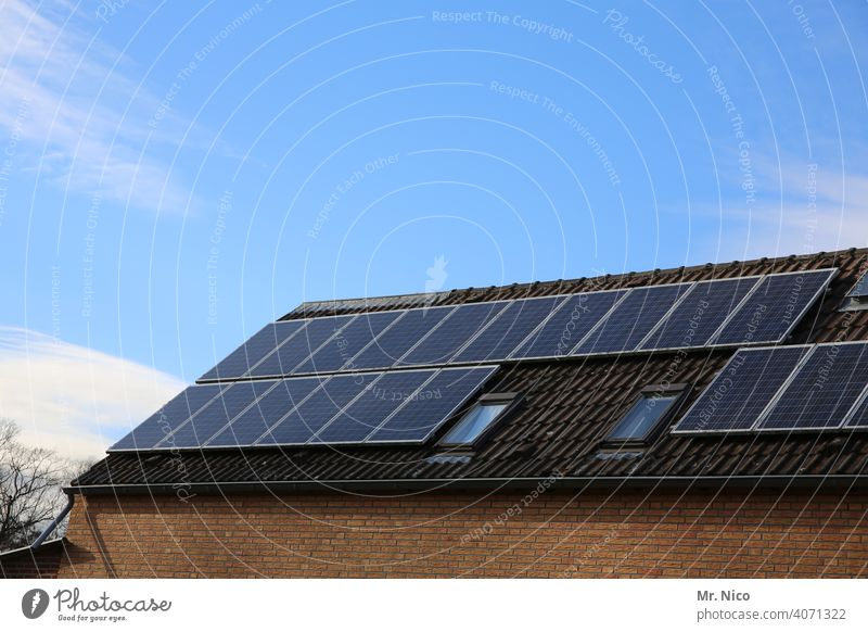 Solar cells - photovoltaics on the roof Skylight Own generation Force Solar system Renewable energy Solar Energy Roof efficiency co2 Heat Heating