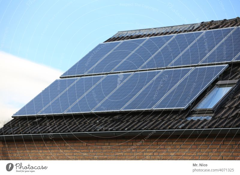Solar cells - photovoltaics on the roof Energy Technology Sky Electricity House (Residential Structure) panel Renewable Clean Sustainability Future