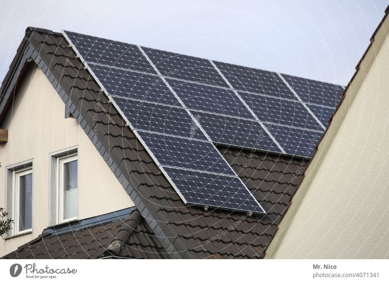 Solar cells - photovoltaics on the roof photovoltaic system Gray Renewable energy Solar Energy Roof Force solar Electricity Sky Technology