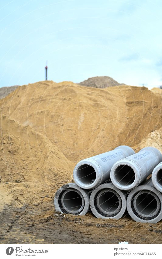 Concrete pipes on a construction site in Hamburg Germany background Construction Construction site Copy Space Industrial industrial background Industry