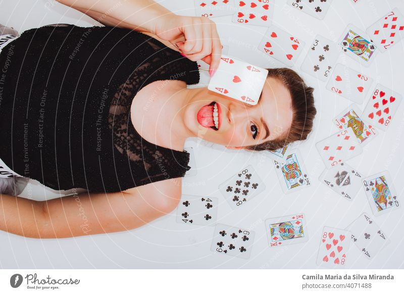 Beautiful woman with deck of cards attractive background beautiful beauty black blackjack casino entertainment fashion fashion model fashionable female fortune