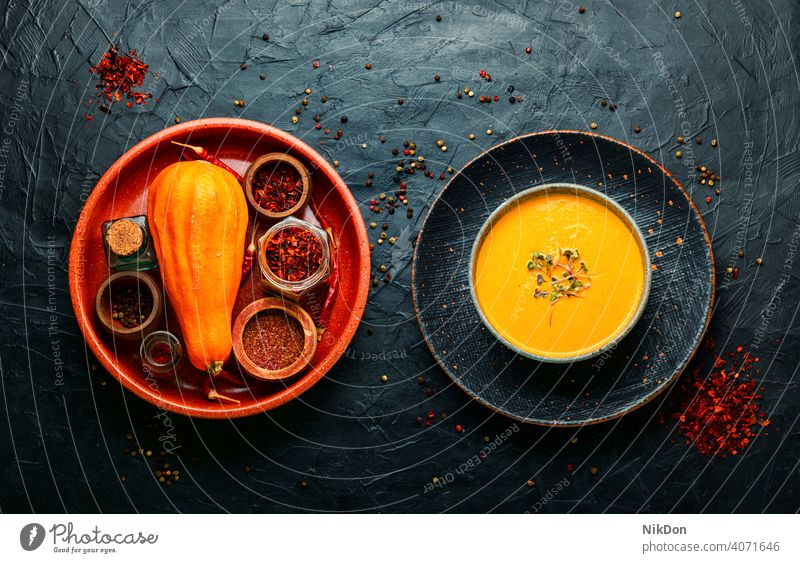 Autumn pumpkin cream soup,homemade food squash pumpkin soup vegetable bowl puree vegan autumnal healthy vegetable cream soup autumn food autumn soup vegetarian