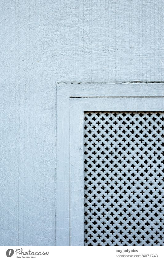 Basement window cover in a white facade. Window Cellar window Facade house wall house wall window White Gray Wall (building) Colour Paintwork Pattern