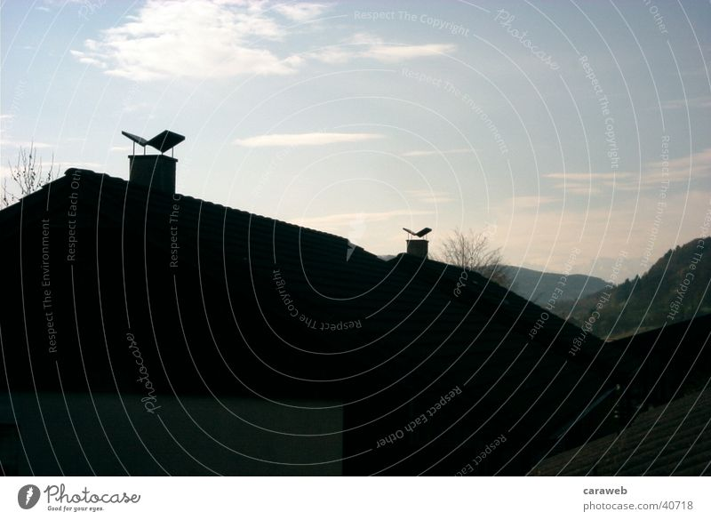 Mountains far away House (Residential Structure) chemins Sky Sunlight Back-light Silhouette Chimney Roof Clouds 2 Deserted Exterior shot Colour photo