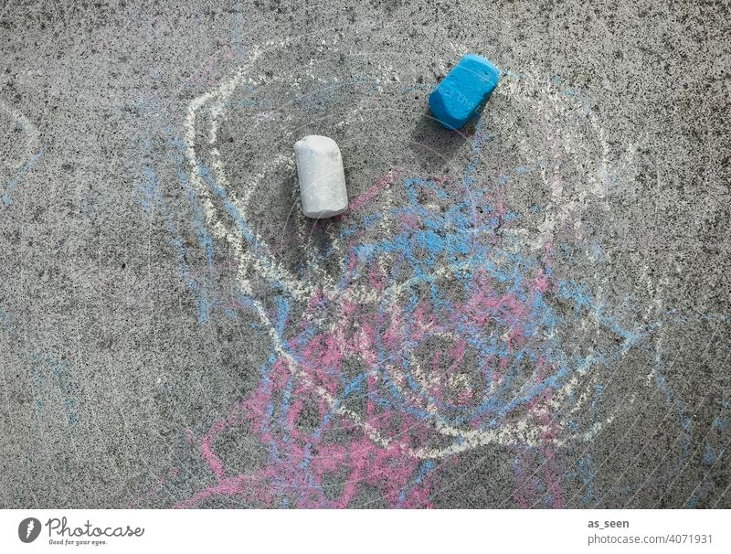 street chalk Street painting Infancy Playing Chalk variegated Blue White Gray Painting (action, artwork) out Child Creativity Leisure and hobbies