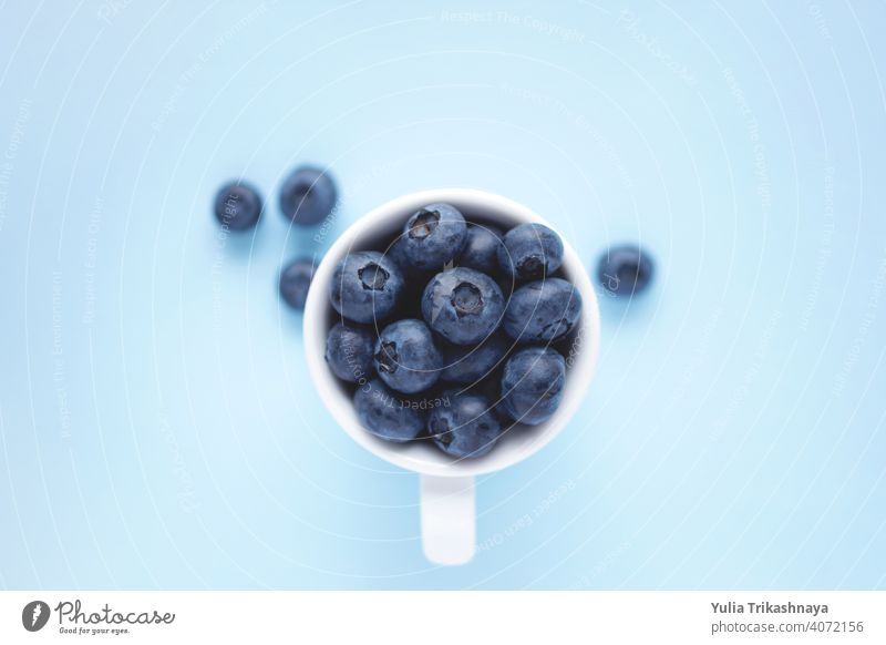 Top view of white cup with juicy blueberries. blueberry background pastel bowl ready to eat raw sweet healthy vegetarian vegan ripe tasty food diet nutrition