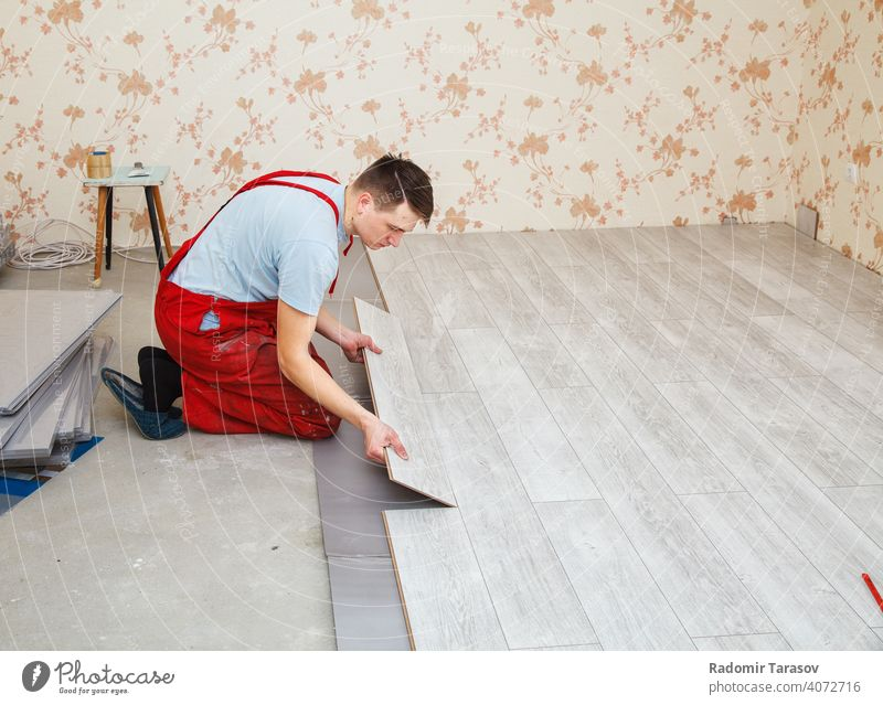 handyman laying down laminate flooring boards installing construction professional repairman working indoor wooden worker plank interior home put constructing