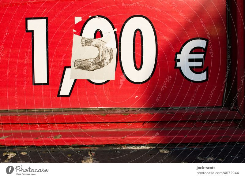 glued price increase only partly torn off Euro Economy 1.50 Signs and labeling Digits and numbers Red Change Detail elevation Shop window Self-made Typography